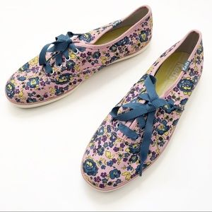 Keds Ribbon Laces Floral Pink Blue Sneakers 7.5